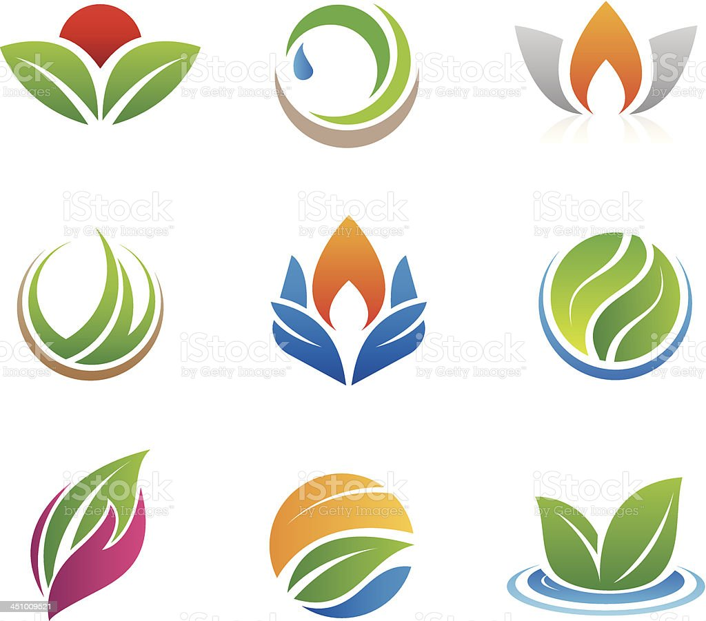 Nature icons and logos vector art illustration