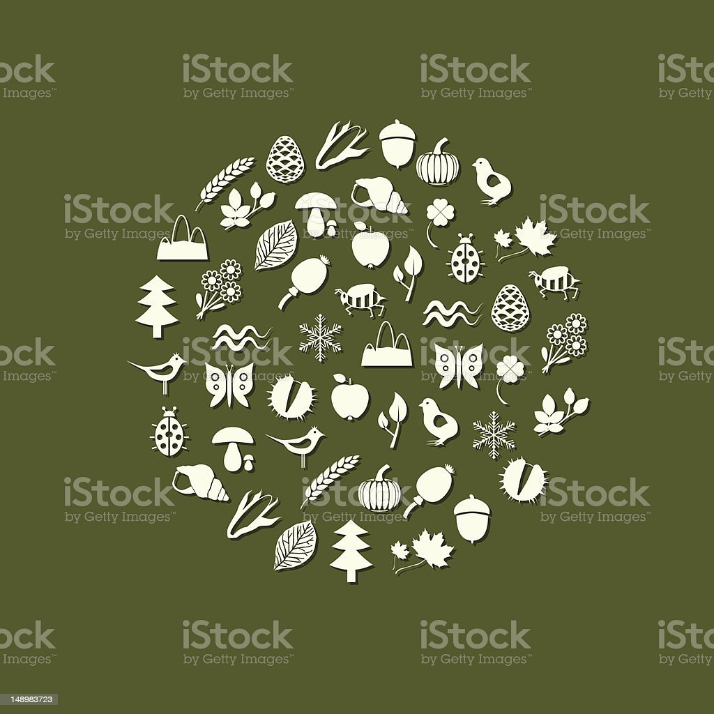 nature icons in circle vector art illustration
