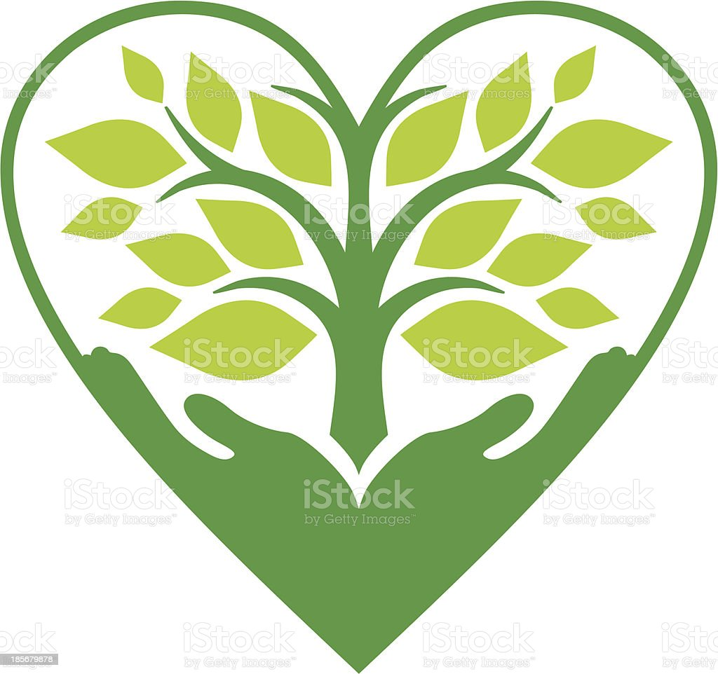 Nature in your heart vector art illustration