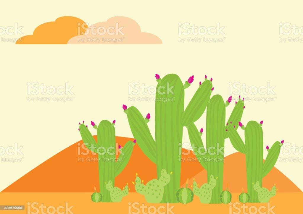 nature landscape background Cactus on desert vector art illustration