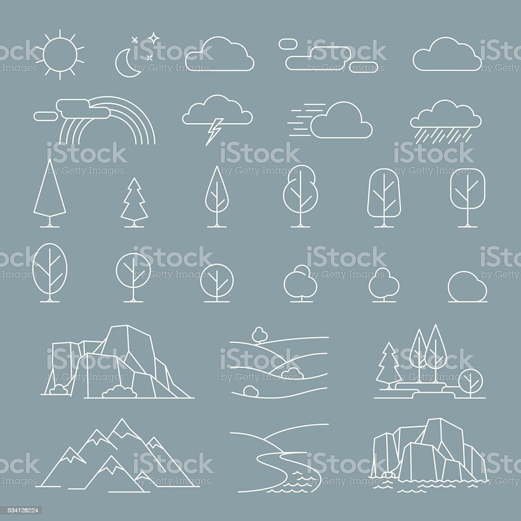 Nature landscape elements icons vector art illustration
