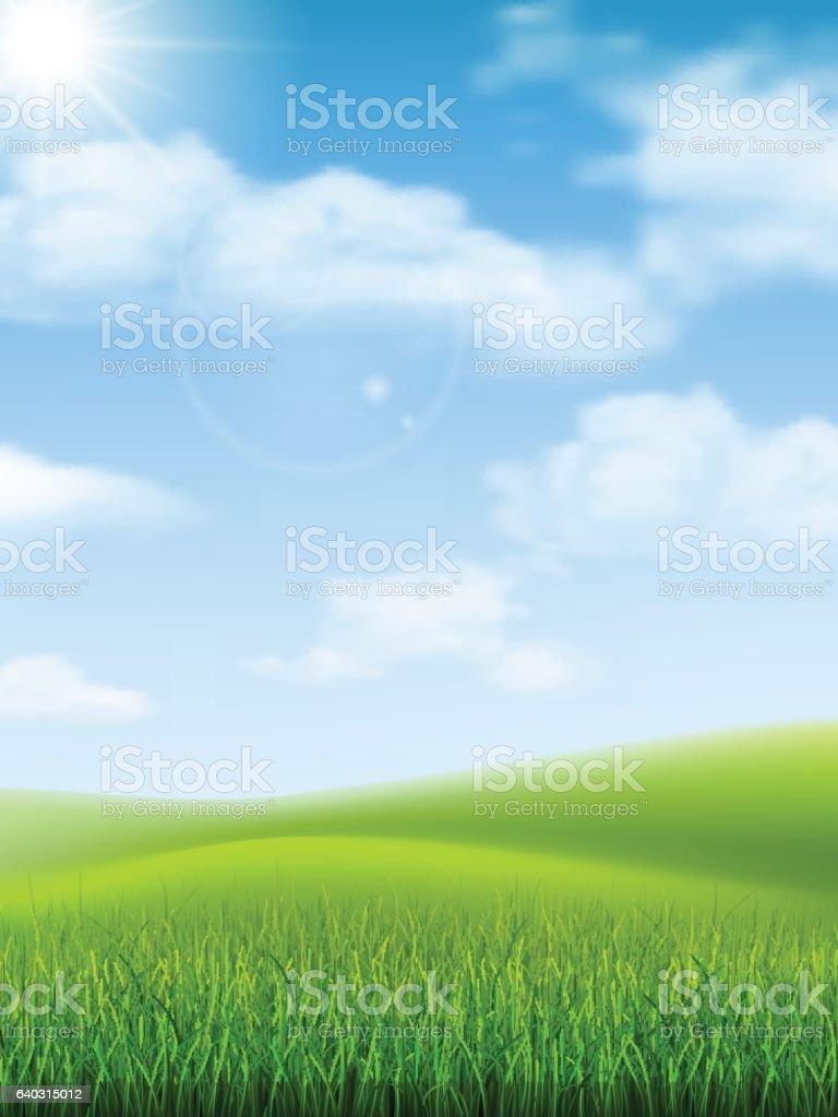 nature landscape grass hill vector art illustration