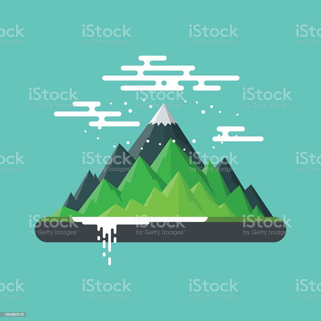 Nature Landscape Mountain. vector art illustration