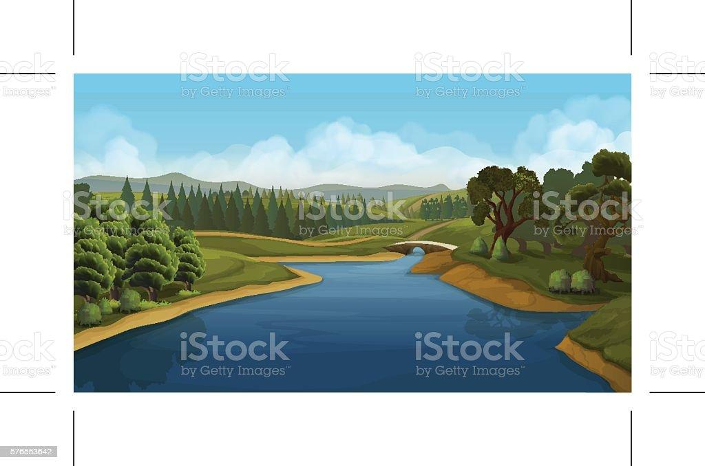 Nature landscape, river, vector background vector art illustration