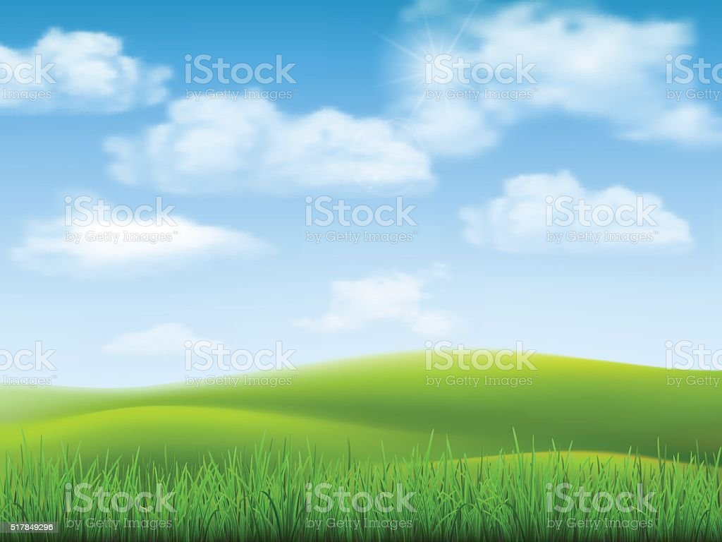 Nature landscape sky and grass vector art illustration