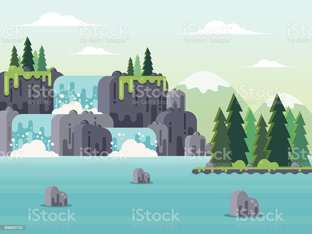 Nature Landscape with Waterfall. vector art illustration