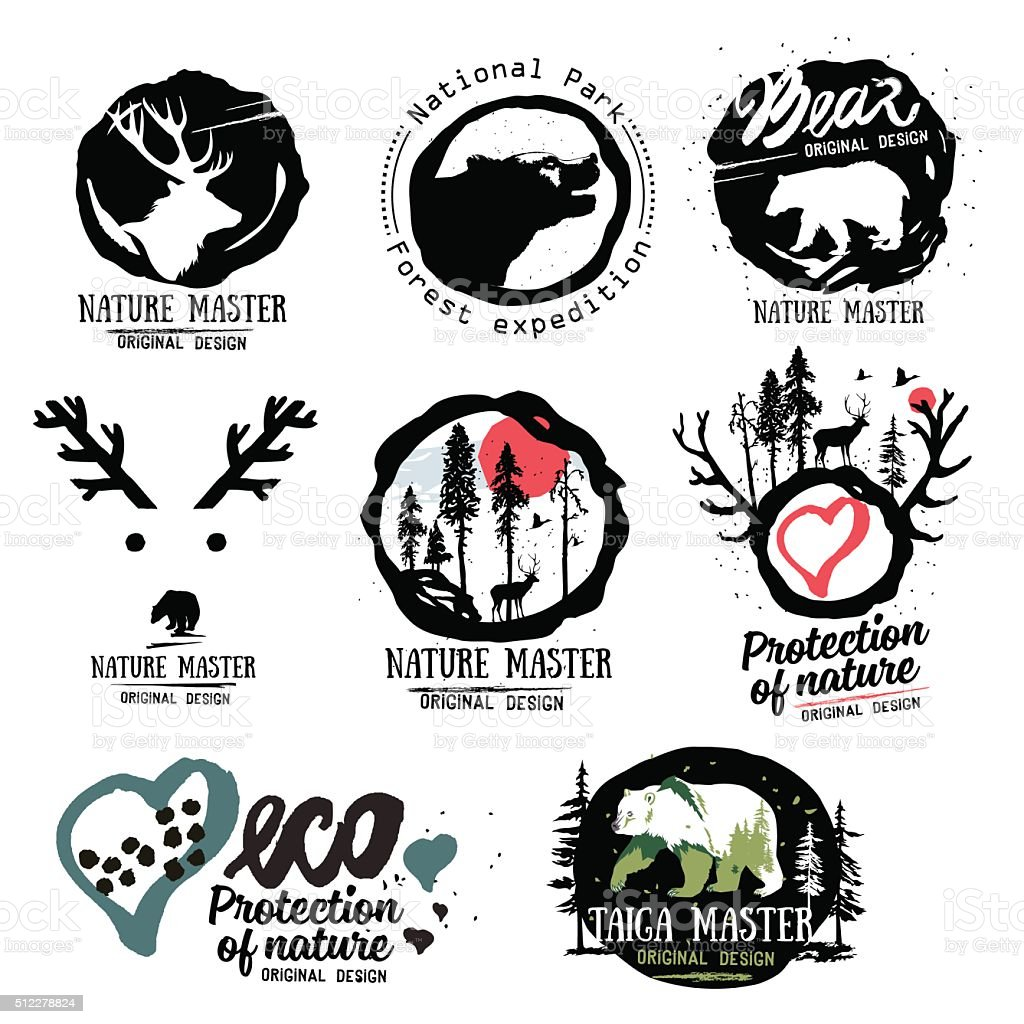 Nature logo. Wild beasts of the forest logo sign. vector art illustration