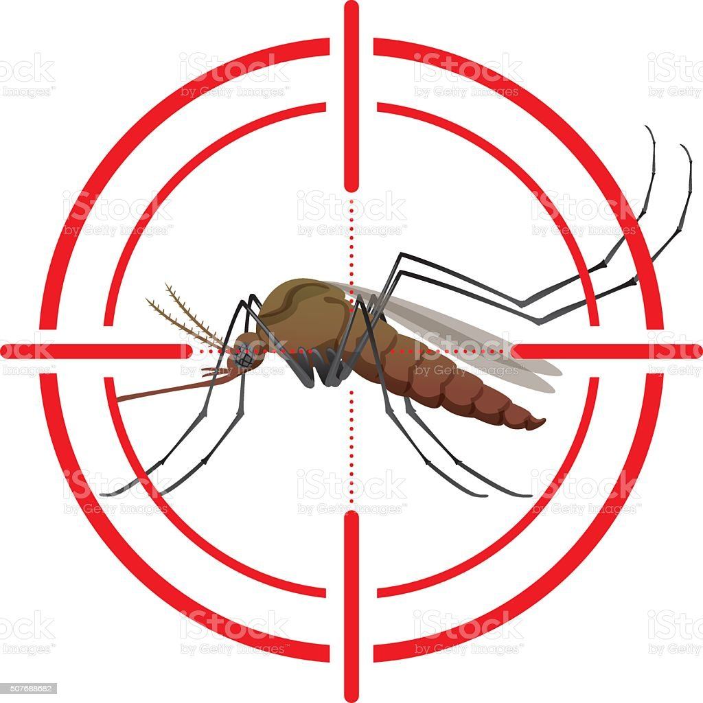 Nature, mosquitoes with stilt target. sights signal vector art illustration