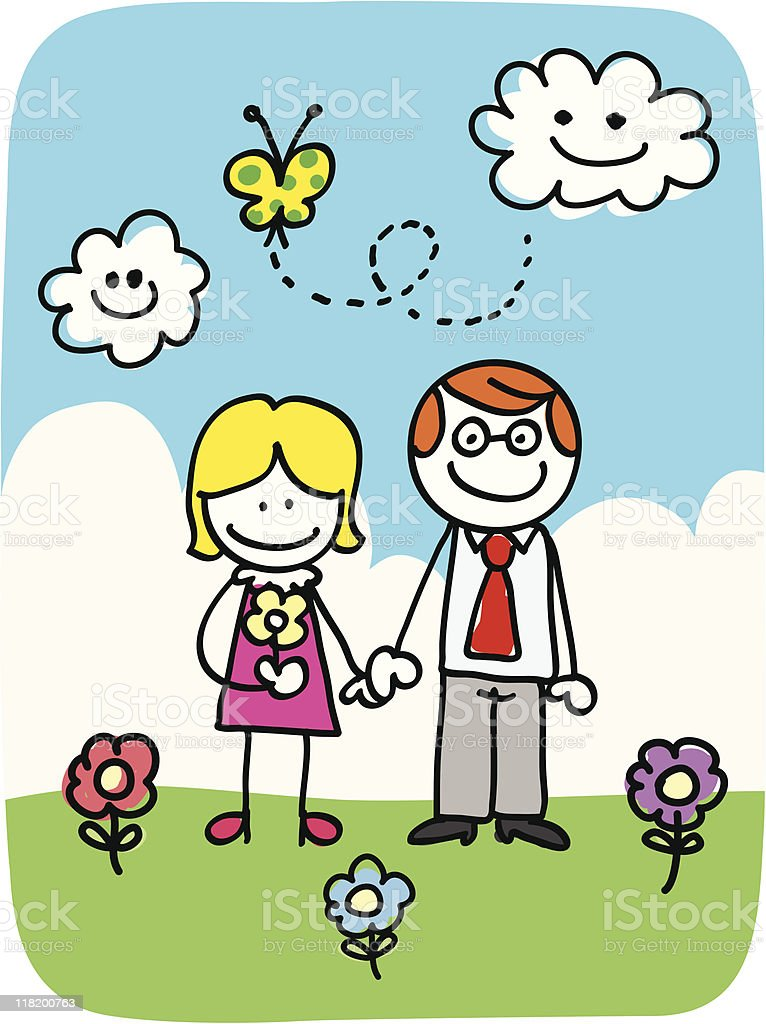 nature Mother and father doodle cartoon royalty-free stock vector art