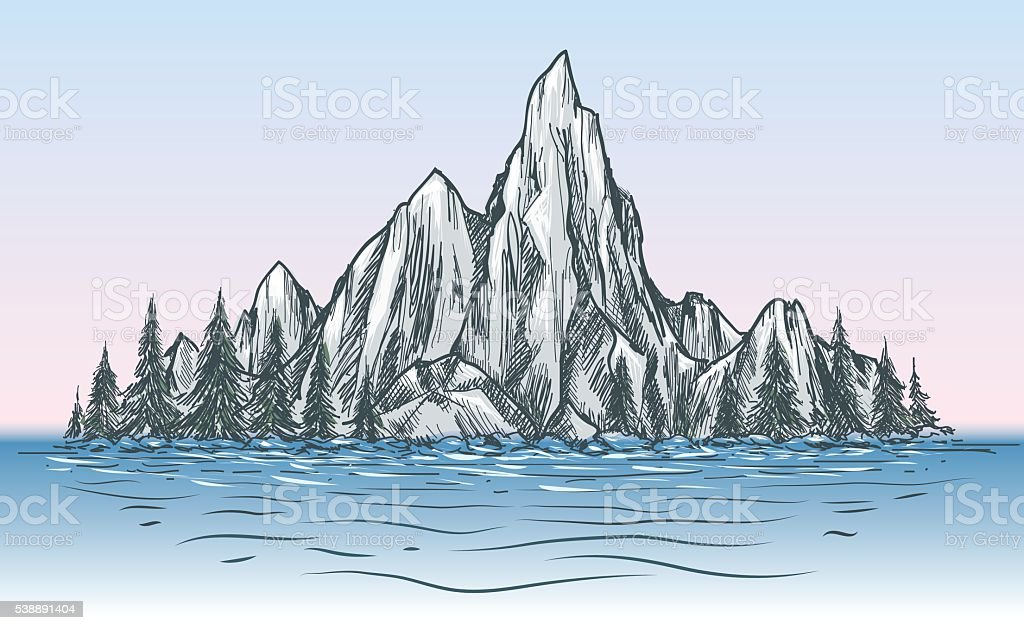Nature mountain view with river vector art illustration