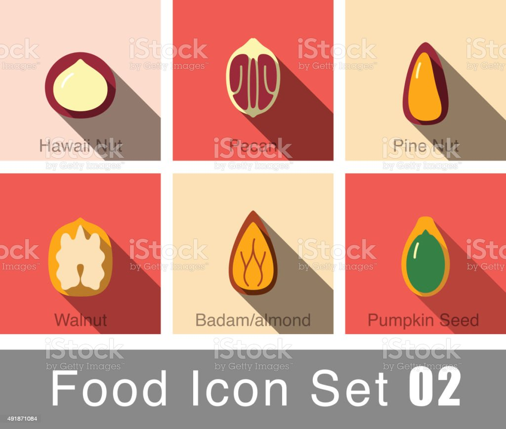 Nature Nuts flat icon design vector art illustration