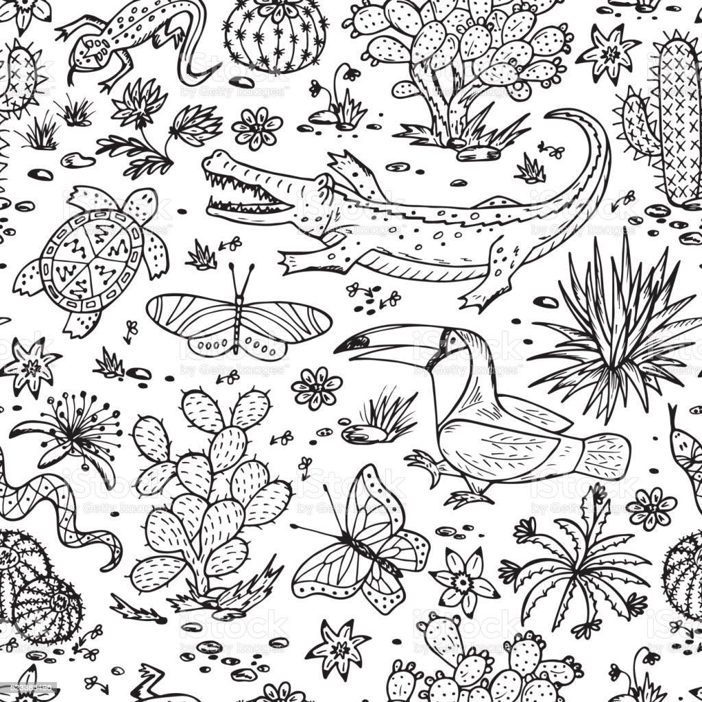Nature of Mexico. Mexican flora and fauna Vector Seamless pattern. vector art illustration