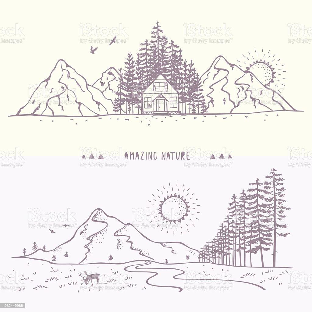 Nature panorama mountain vector art illustration
