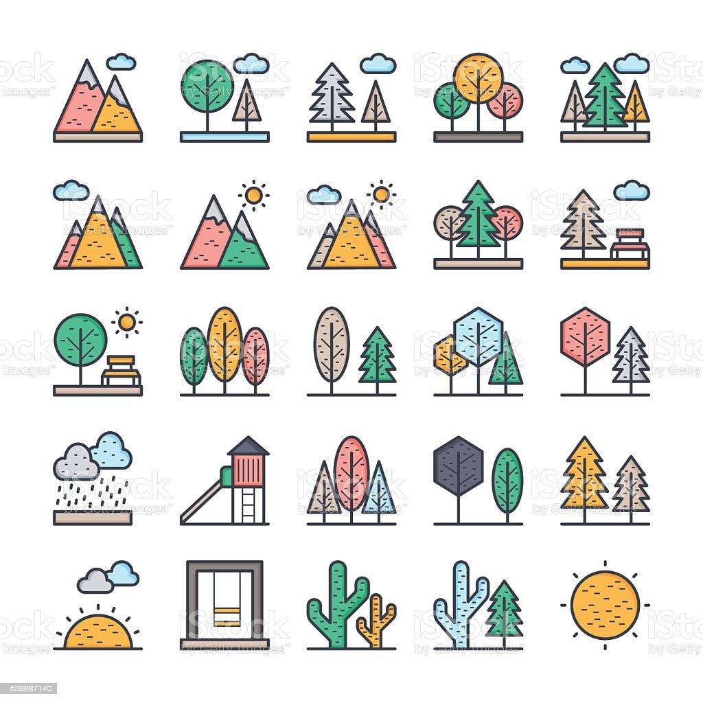Nature, Park, Plants, Trees Vector Icons 1 vector art illustration