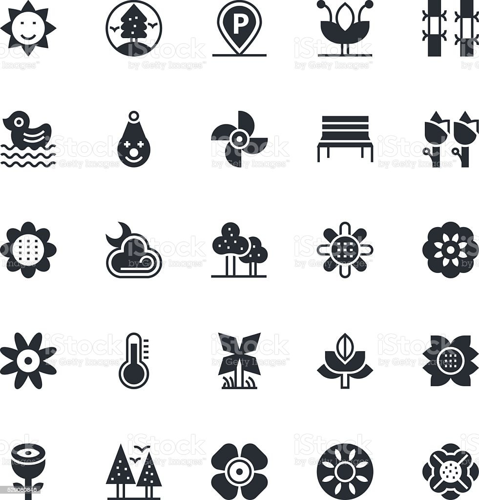 Nature, Park Vector Icons 4 vector art illustration