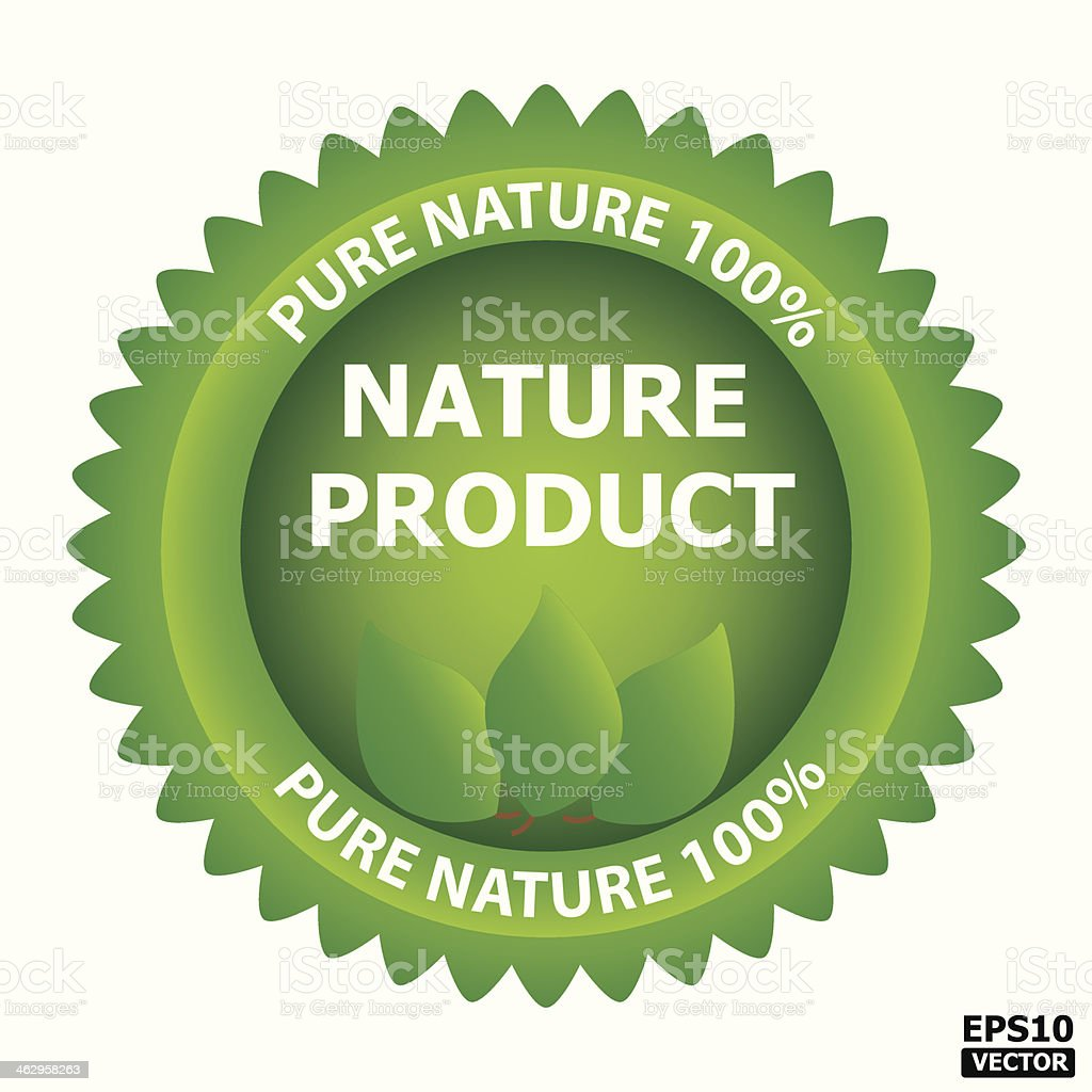 Nature product green sign. vector art illustration