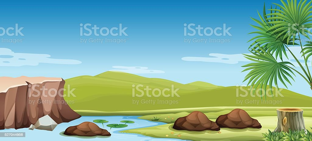 Nature scene of the river and field vector art illustration