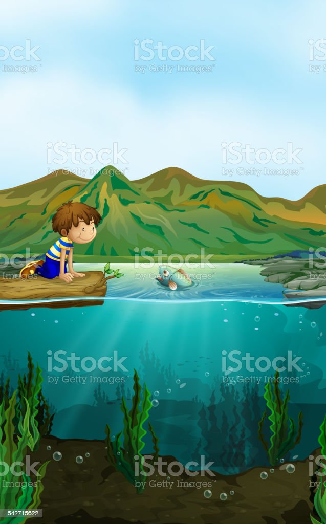 Nature scene with boy and fish vector art illustration