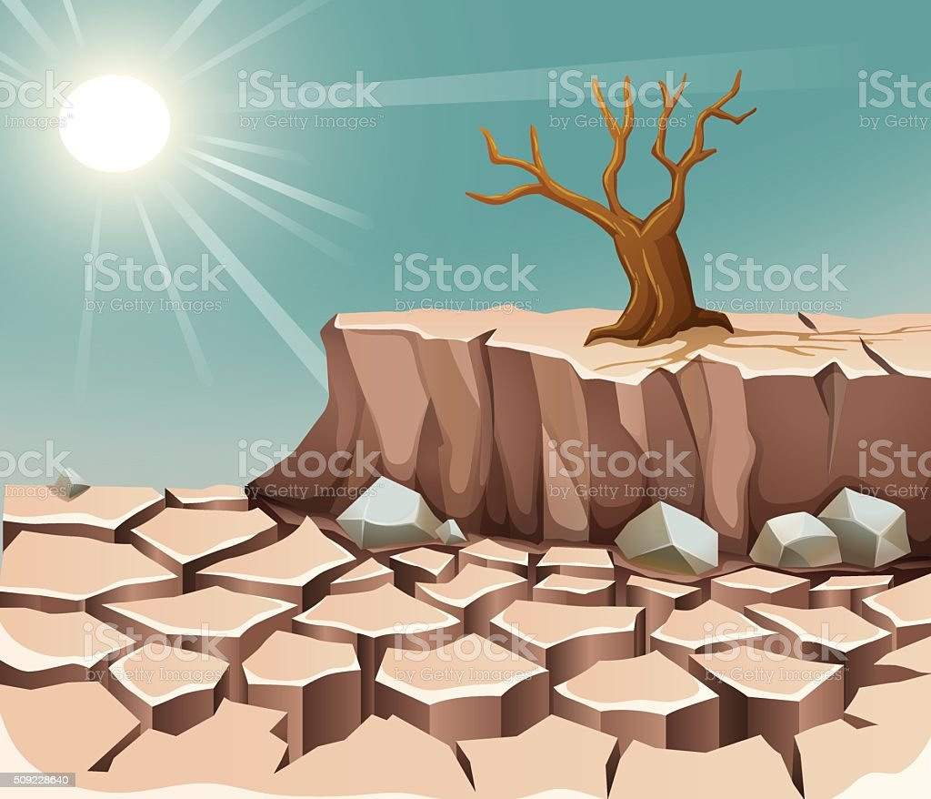 Nature scene with hot sun and dry land vector art illustration