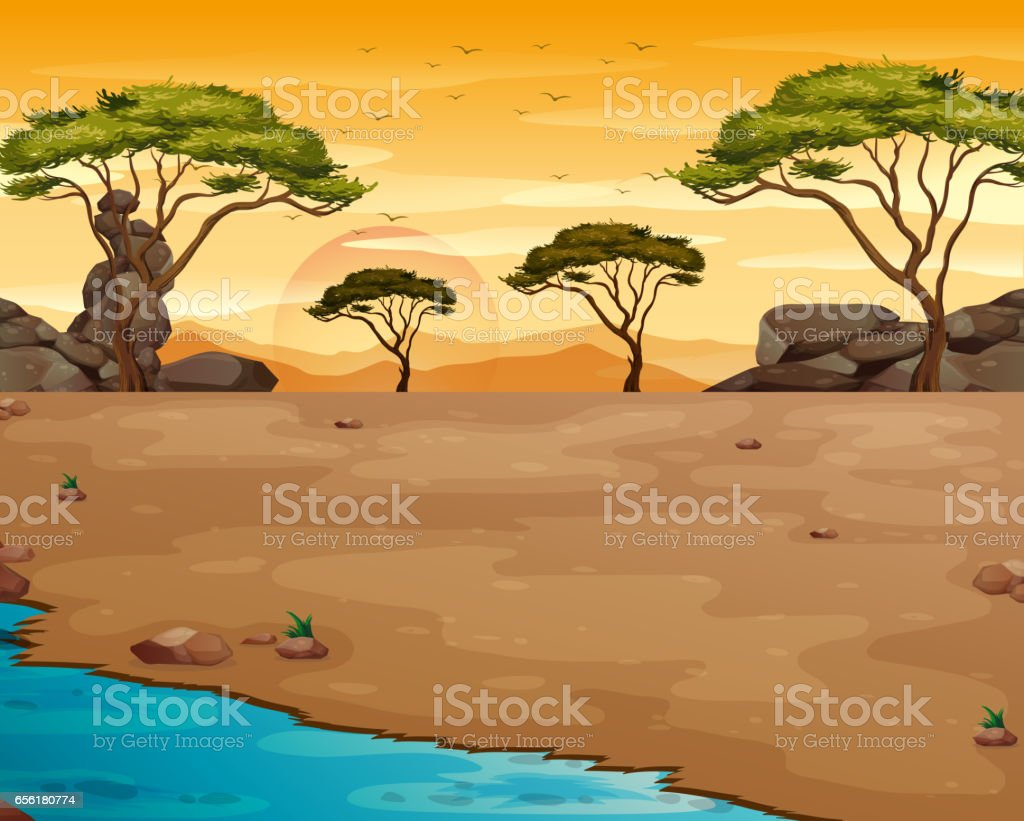 Nature scene with river at sunset vector art illustration