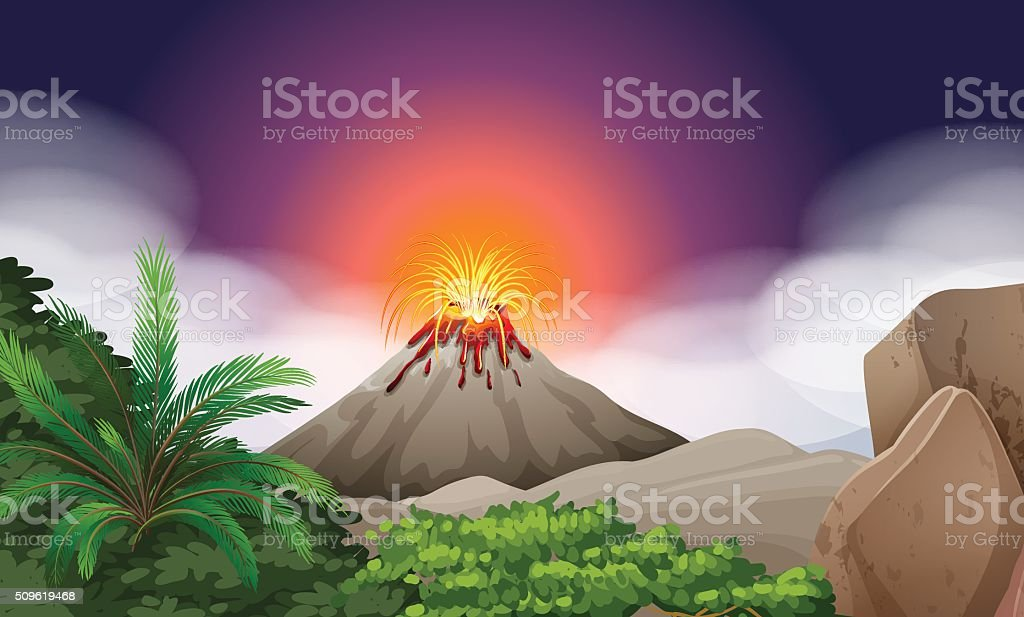 Nature scene with volcano eruption vector art illustration