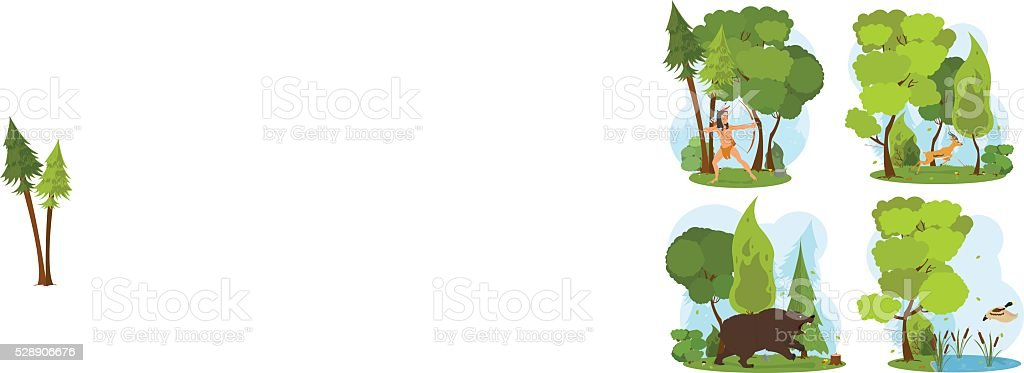 nature scenes. Indian hunts with a bow. vector art illustration