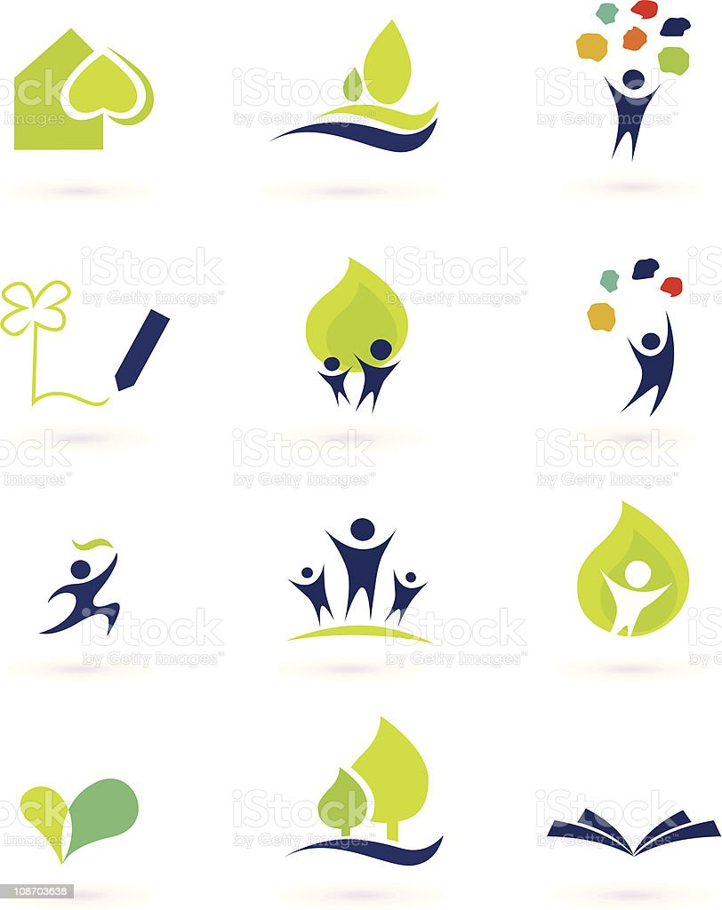 Nature, school and education icons vector art illustration