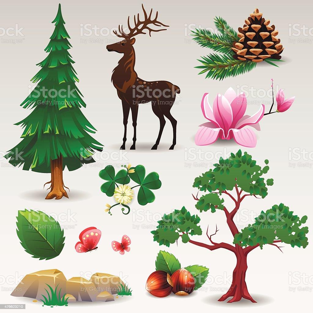 Nature set vector art illustration