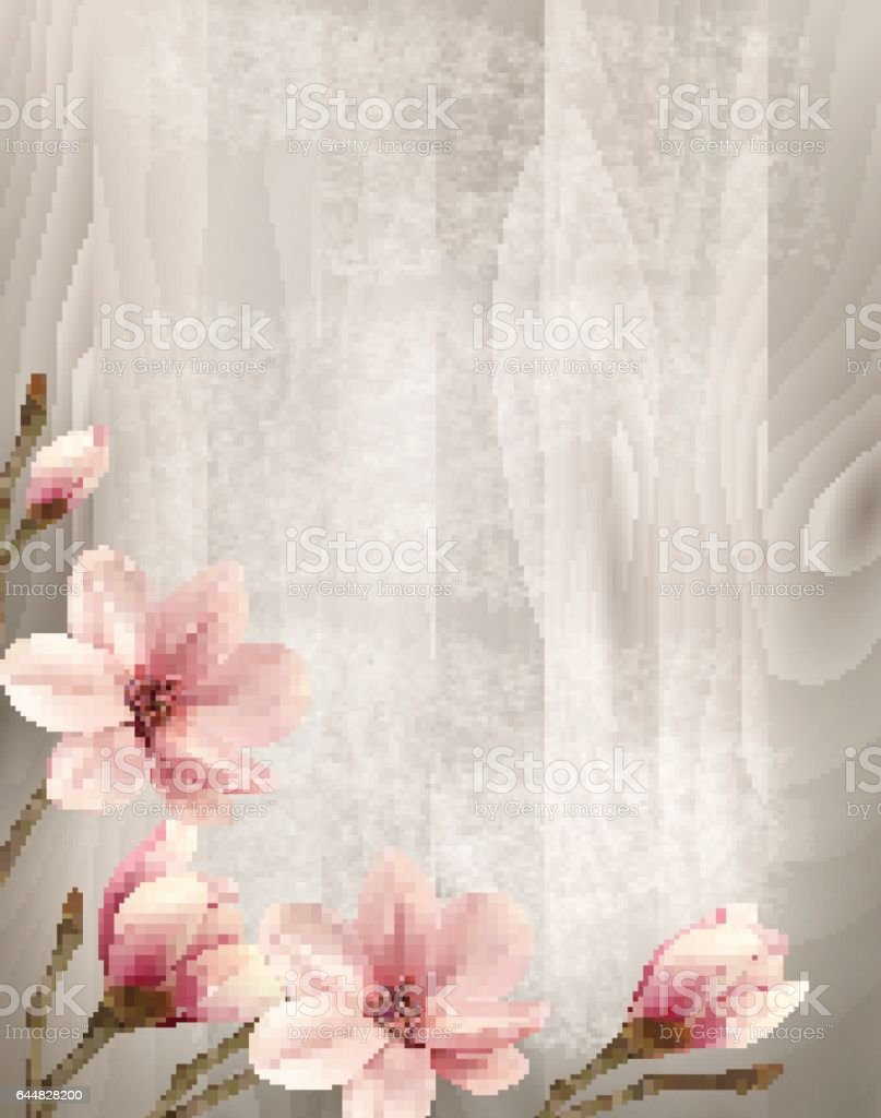 Nature spring background with beautiful magnolia branches on wooden sign. vector art illustration