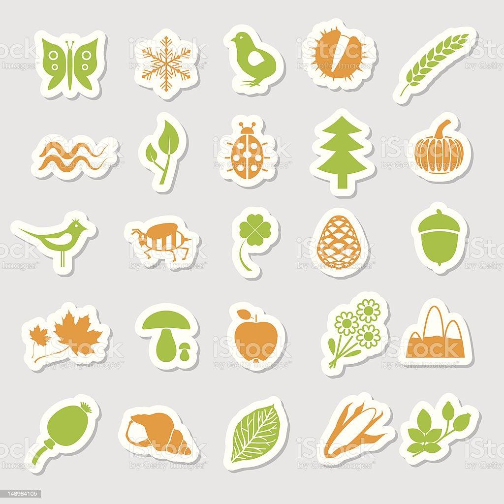 nature stickers vector art illustration
