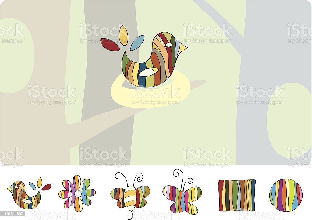 Nature striped Icon set royalty-free stock vector art