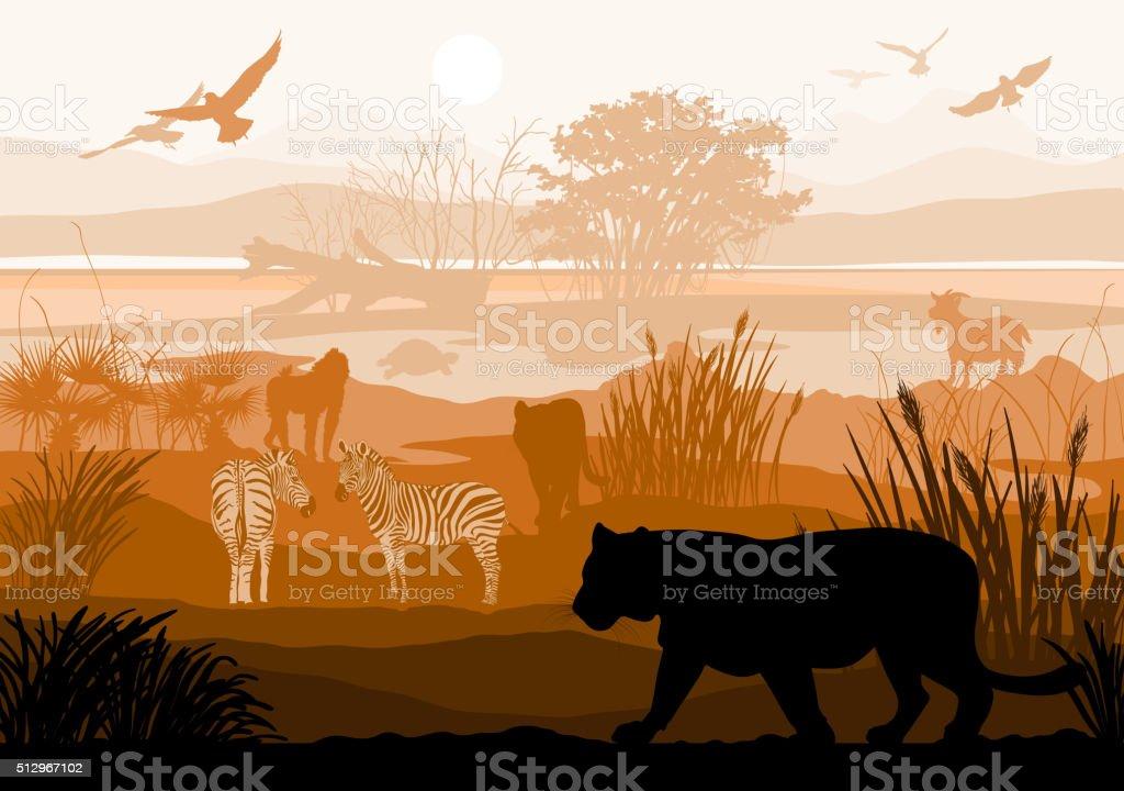 nature with wild animals (Tiger, Zebra, goat, bird, monkey, turtle) vector art illustration