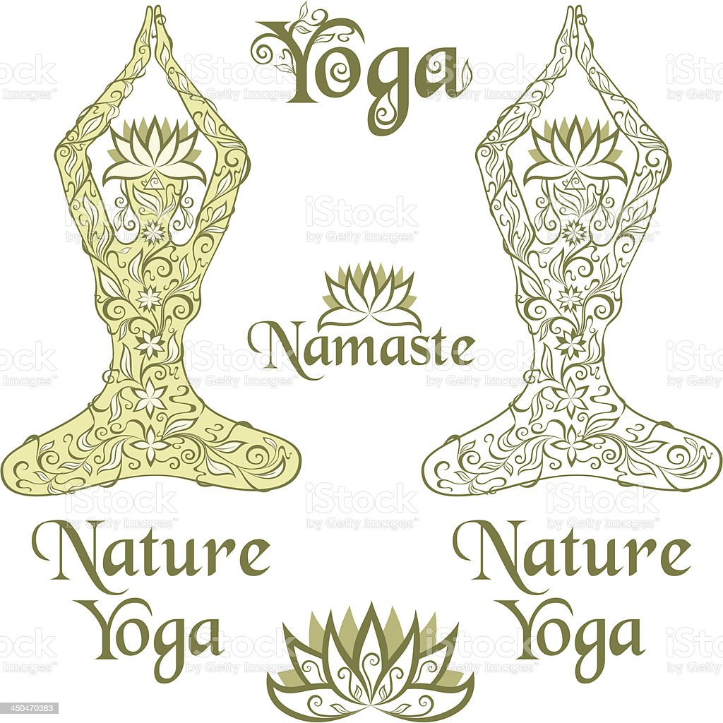 Nature Yoga elements vector art illustration