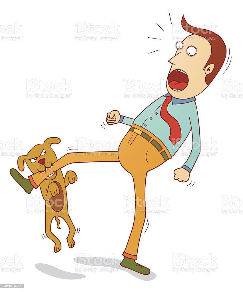 naughty dog biting foot vector art illustration