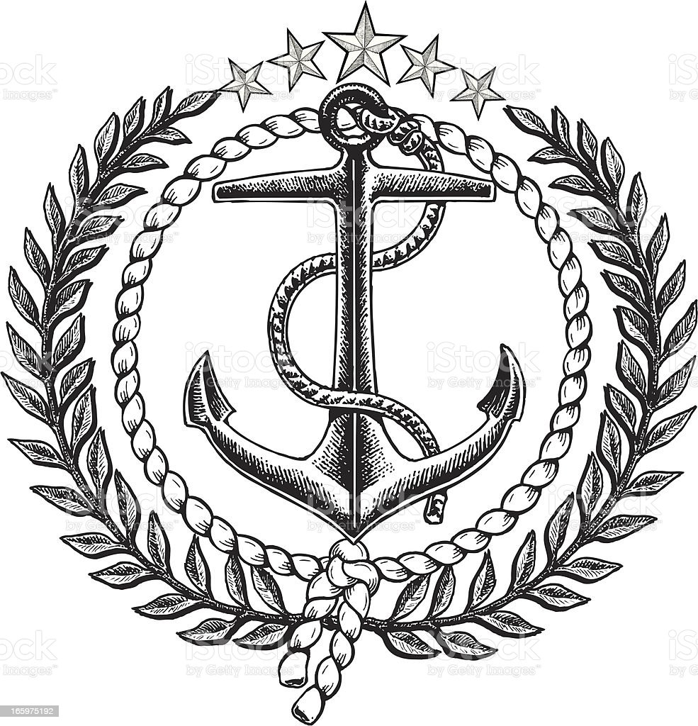 Nautical Anchor Graphic Icon with Olive Branch royalty-free stock vector art