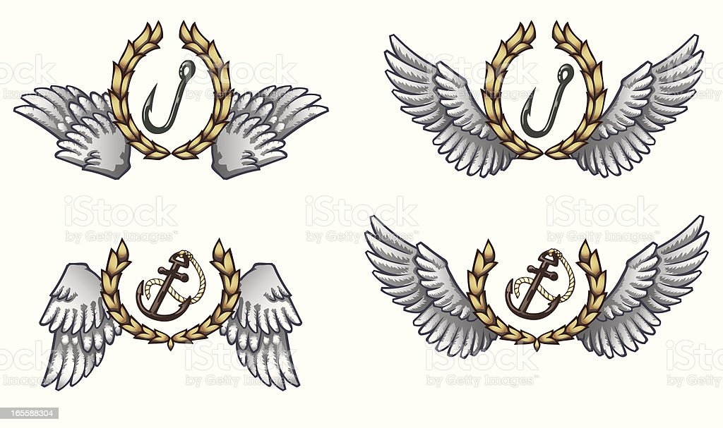 Nautical and Fishing Emblems vector art illustration