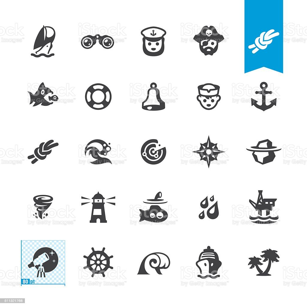 Nautical and Sailing vector icons vector art illustration