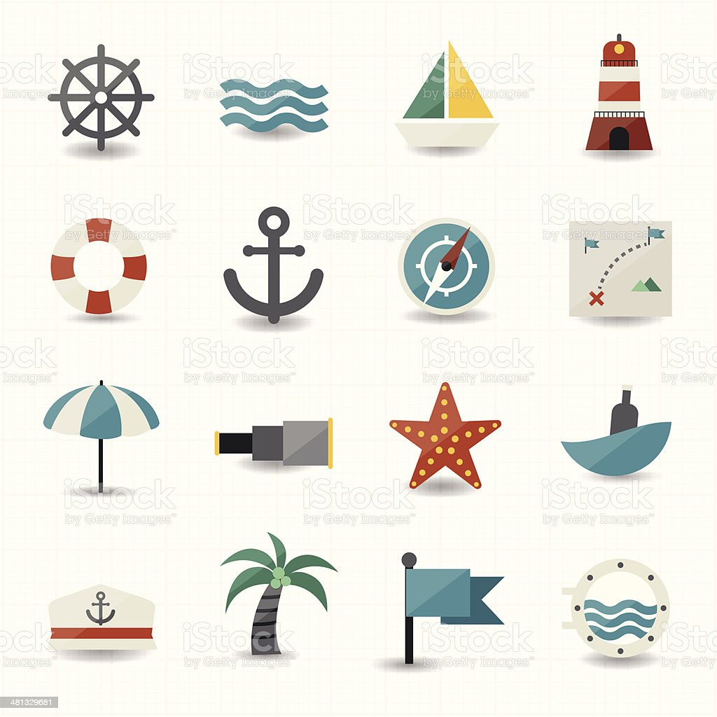 Nautical and sea icons vector art illustration