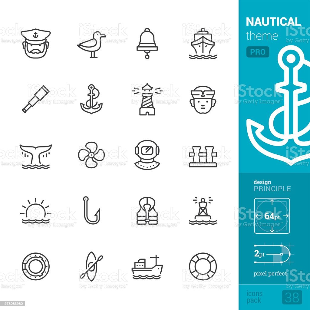 Nautical and Sea, outline vector icons - PRO pack vector art illustration