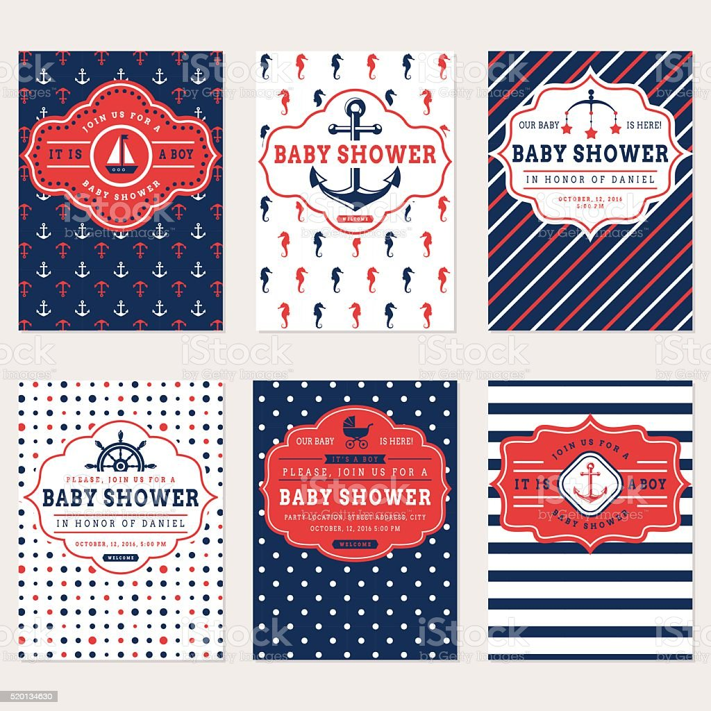 Nautical baby shower cards. vector art illustration
