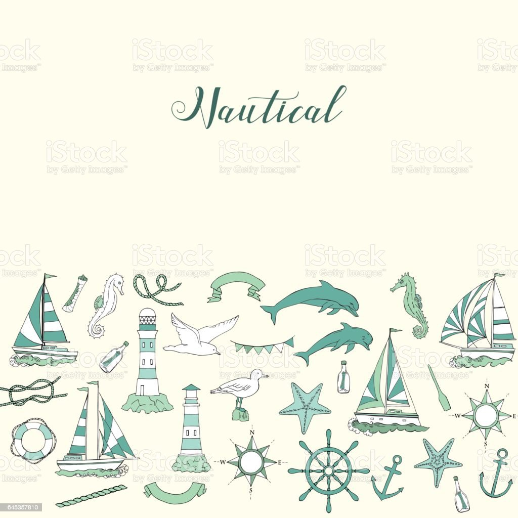 Nautical background with ships vector art illustration