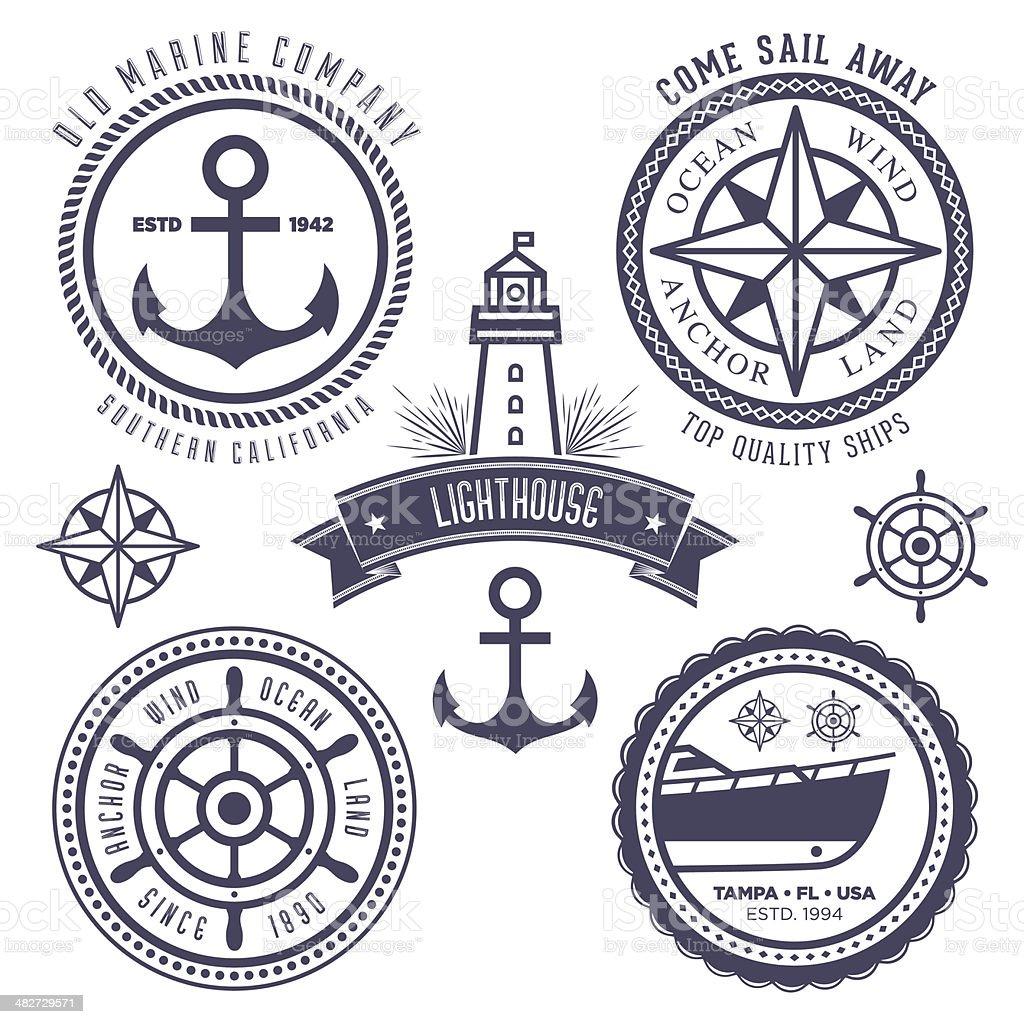 Nautical Badges vector art illustration