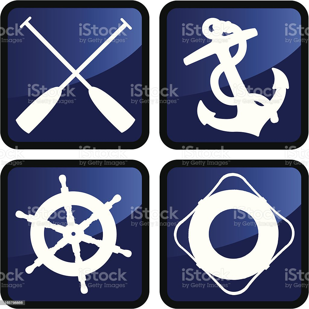 Nautical Boat or Ship Icon Buttons royalty-free stock vector art