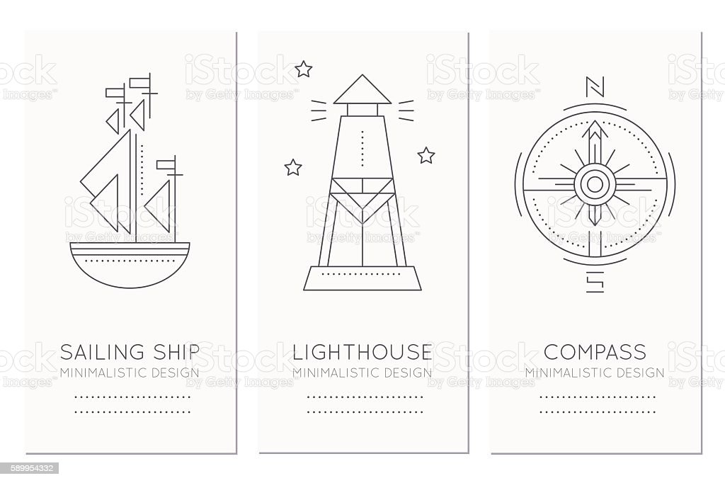 Nautical card template with illustrations of ship, lighthouse, compass rose vector art illustration