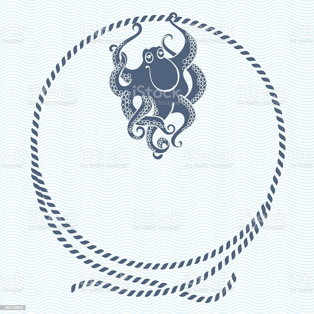 Nautical card with frame, marine knots, ropes and octopus. vector art illustration