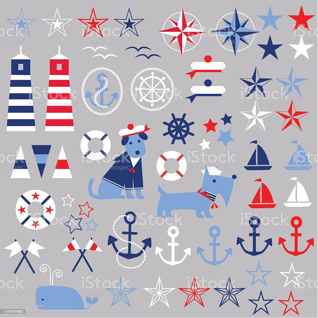 Nautical Clipart vector art illustration