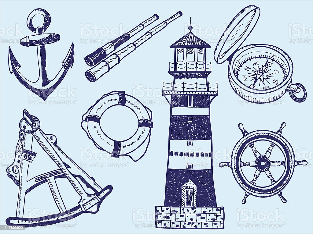 Nautical collection - hand-drawn illustration royalty-free stock vector art