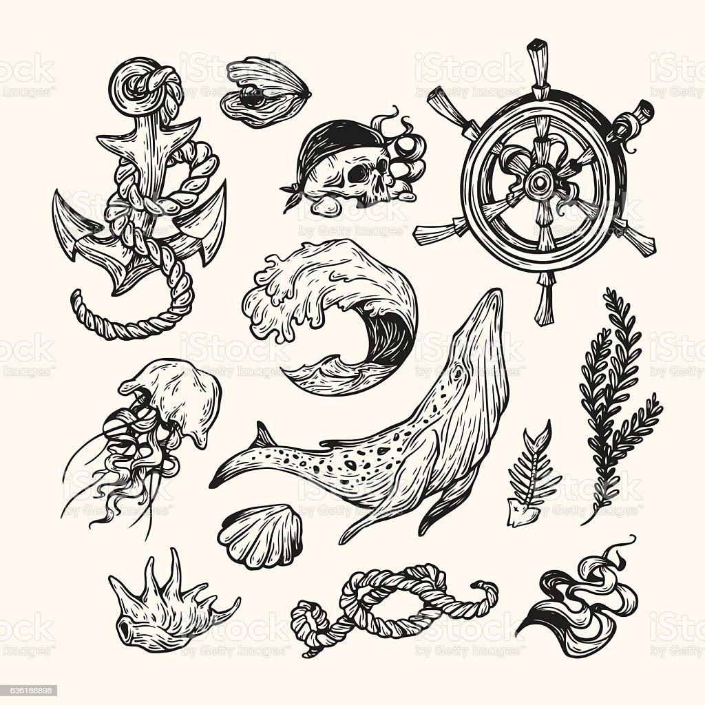 Nautical collection. vector art illustration