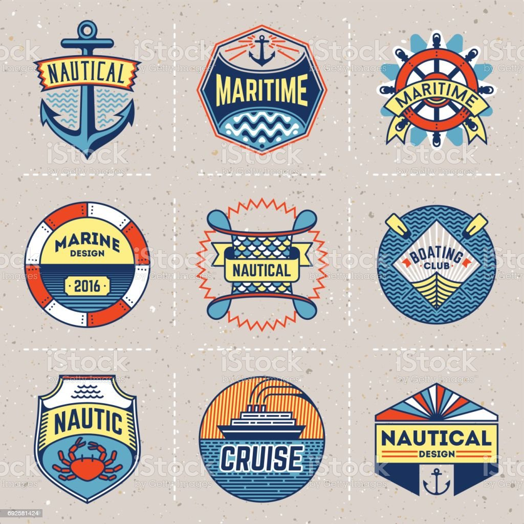 Nautical Color Insignias icontypes Template Set. Line Art Vector Elements. vector art illustration