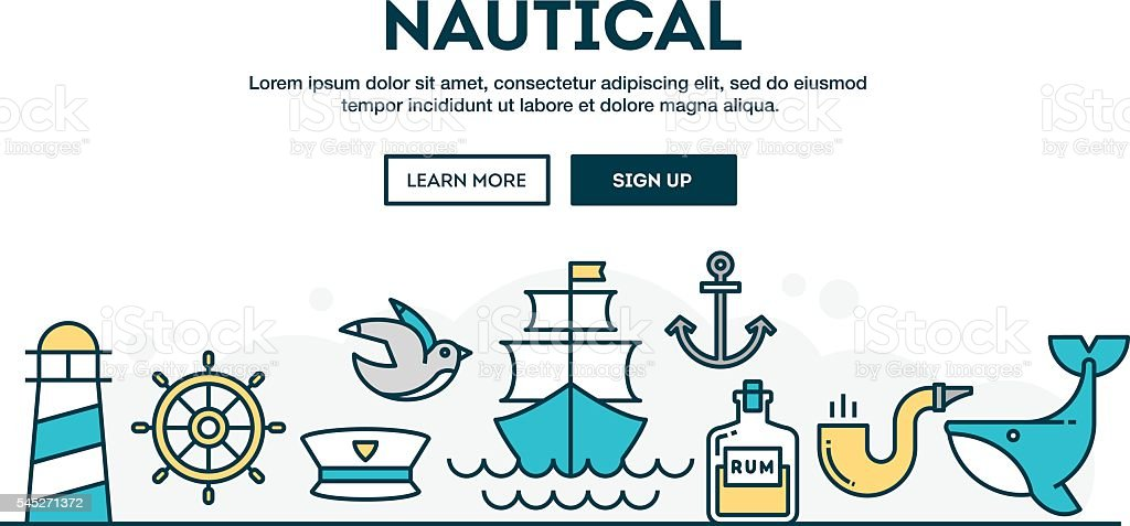 Nautical, colorful concept header, flat design thin line style vector art illustration